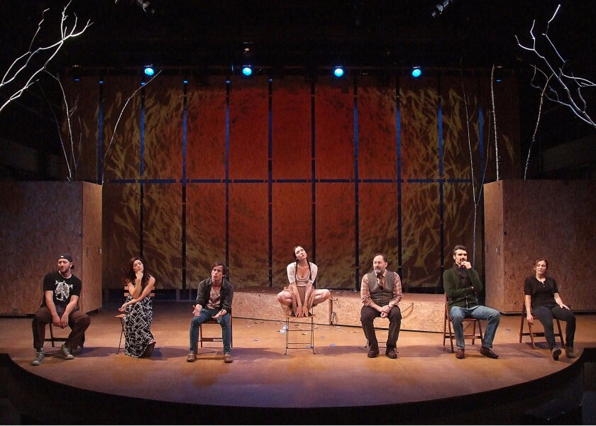 """Adam Silver, Amy Pietz, Will Bradley, Zarah Mahler, Arye Gross, Matthew Floyd Miller and Charlotte Gulezian star in The Theatre @ Boston Court presents the production of """"Stupid ... Birds"""" by Aaron Posner."""