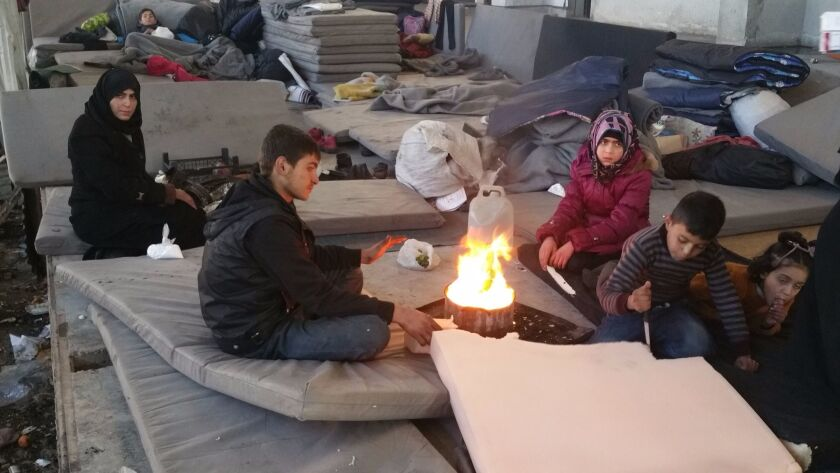 Inside a shelter in Jibreen for Syrians who were evacuated from Aleppo's rebel-held eastern districts.