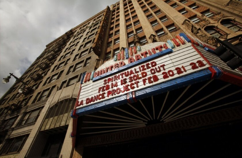 Exterior of the United Artists Theatre in the Ace Hotel at 937 S. Broadway in downtown Los Angeles.
