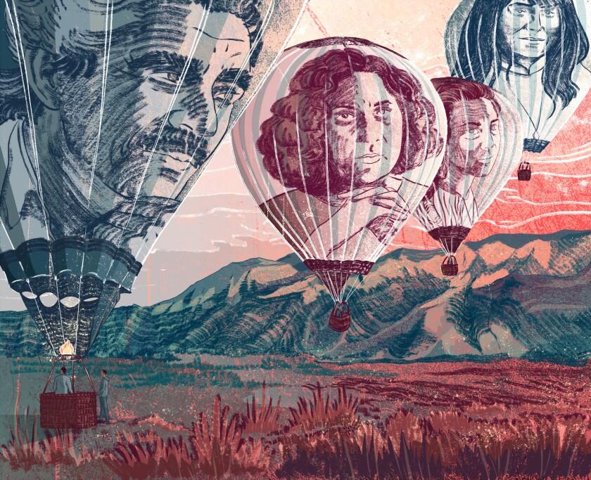 An illustration of authors Rudolf Anaya, Denise Chavez, Ana Castillo and Leslie Marmon Silko.