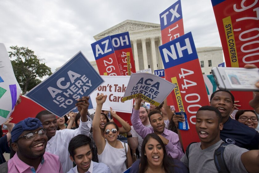 Demonstrators cheered after justices upheld the Affordable Care Act during a previous challenge.