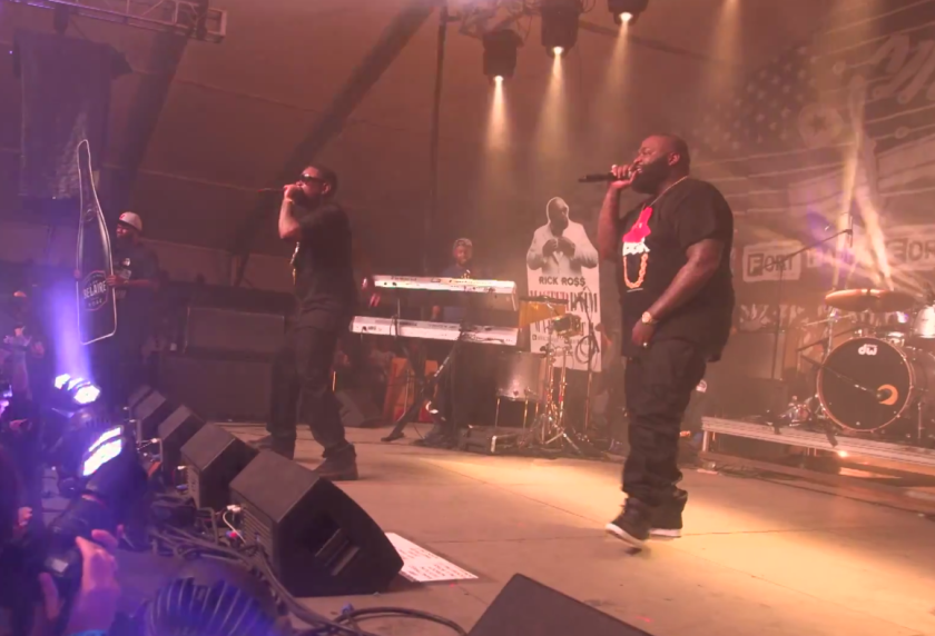 The rapper Rick Ross, right, performs Saturday night at the South by Southwest music festival in Austin, Texas.