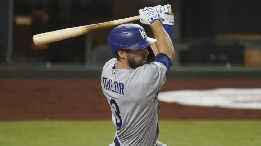 Chris Taylor bats in Game 3 of the NLDS against the San Diego Padres.