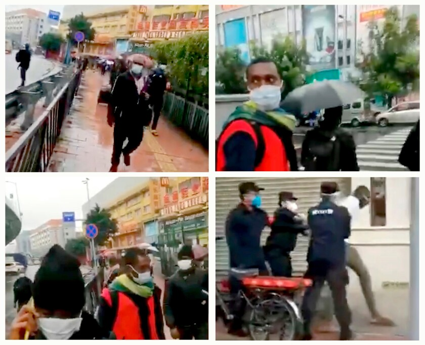 In images from video, displaced Africans roam Guangzhou, China, on April 7, unable to find a hotel that will accept them. Eventually, police take some to a station.