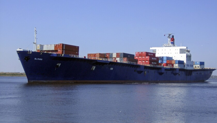 The container ship El Faro, which the U.S. Coast Guard says has gone missing in the area of Hurricane Joaquin near the Bahamas.