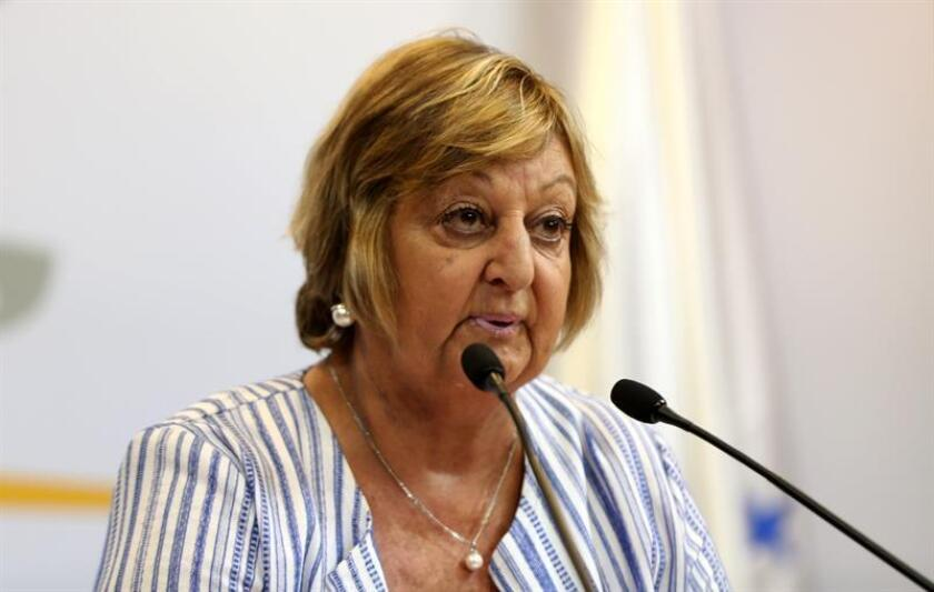 Uruguayan Tourism Minister Liliam Kechichian holds a press conference in Montevideo on Feb. 11, 2019, to provide figures on tourist arrivals and spending in January. EFE-EPA/ Sarah Yañez-Richards