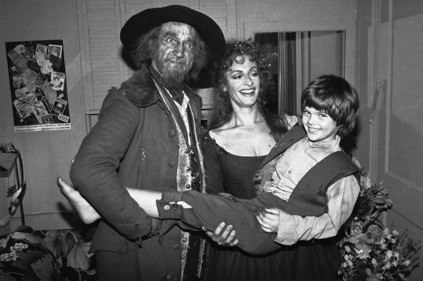 """Ron Moody, left, Patti Lupone and Braden Danner star in the musical """"Oliver"""" in New York City."""