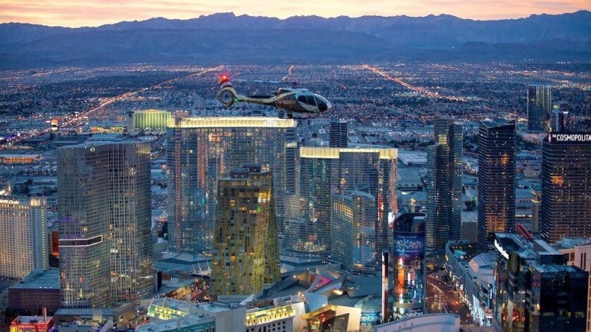 Helicopter flights over the Las Vegas Strip are common, but only Sundance will be offering midnight fireworks-viewing flights on Dec. 31.