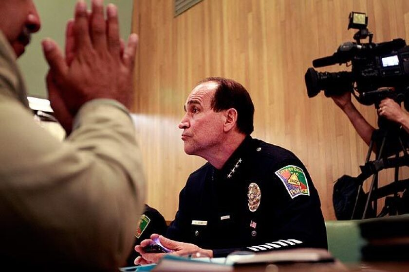 Bell Police Chief Randy Adams, whose $457,000 salary is 50% higher than that of his Los Angeles counterpart, attended the council meeting Monday. City Administrative Officer Robert Rizzo, whose salary is also causing an outcry, did not attend.