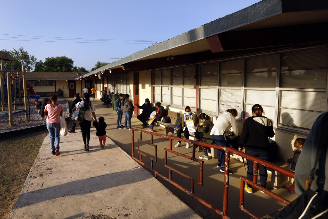 Hondurans and Guatemalans who crossed the U.S. border illegally spend time temporarily at a shelter in Mission, Texas.