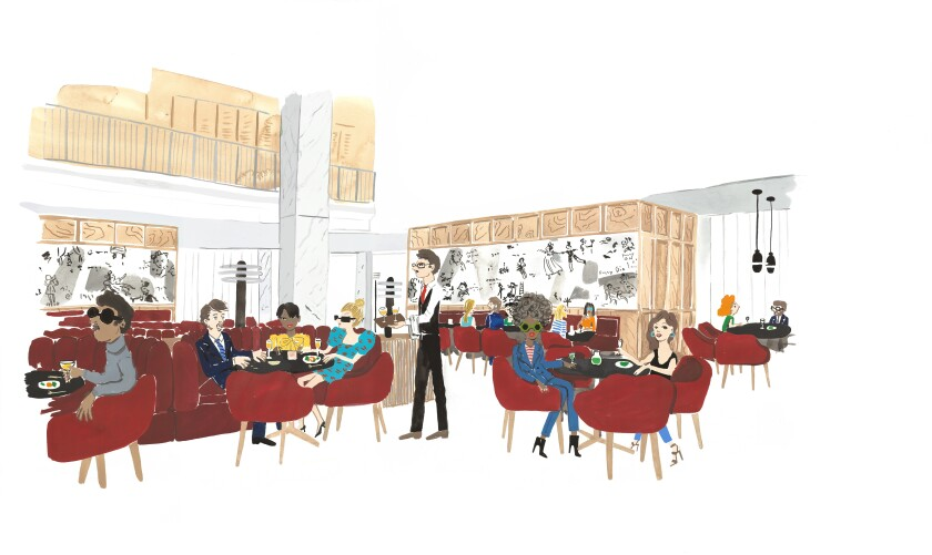 An illustration shows people sitting in a Midcentury Modern-design restaurant with a mural showing movie scenes