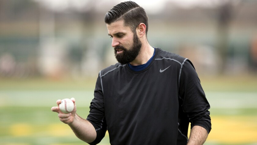 Matt Shoemaker works out at Wayne State University in Detroit, Mich., on Jan. 17, not long after he was cleared to resume baseball activities.
