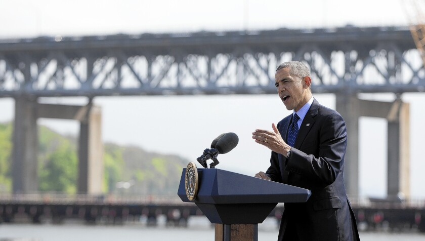 """President Obama speaks near the Tappan Zee Bridge, which is being replaced. """"First-class infrastructure attracts first-class jobs,"""" he said."""