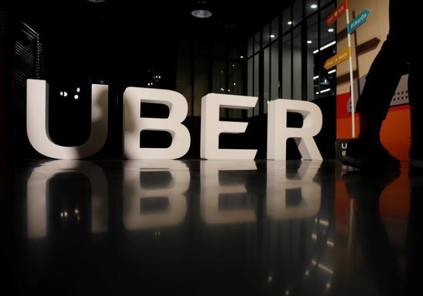 Logo de Uber durante una rueda de prensa enTaipei (Taiwán). EFE/Archivo