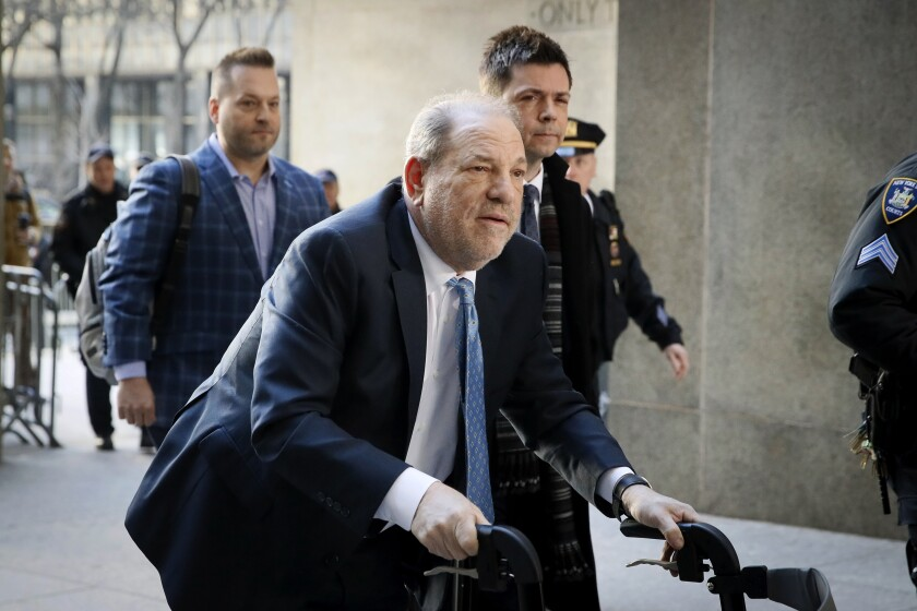 Harvey Weinstein arrives at a Manhattan courthouse during his trial last month.