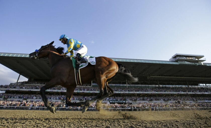 American Pharoah gallops past the grandstand with Victor Espinoza up after crossing the finish line to win the 147th running of the Belmont Stakes horse race at Belmont Park, Saturday, June 6, 2015, in Elmont, N.Y. American Pharoah is the first horse to win the Triple Crown since Affirmed won it in