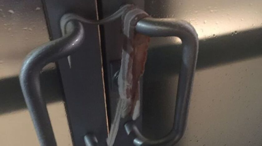 A suspect left bacon strips on a door handle at the Islamic Center of Davis. The Davis Police Department is investigating the incident as a hate crime.