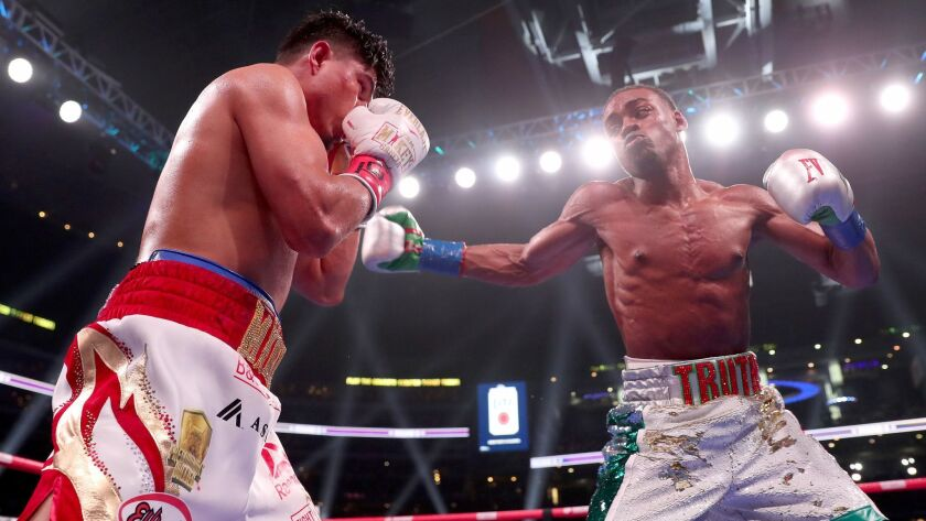 Errol Spence Jr. fights Mikey Garcia in an IBF World Welterweight Championship bout at AT&T Stadium on March 16, 2019 in Arlington, Texas.