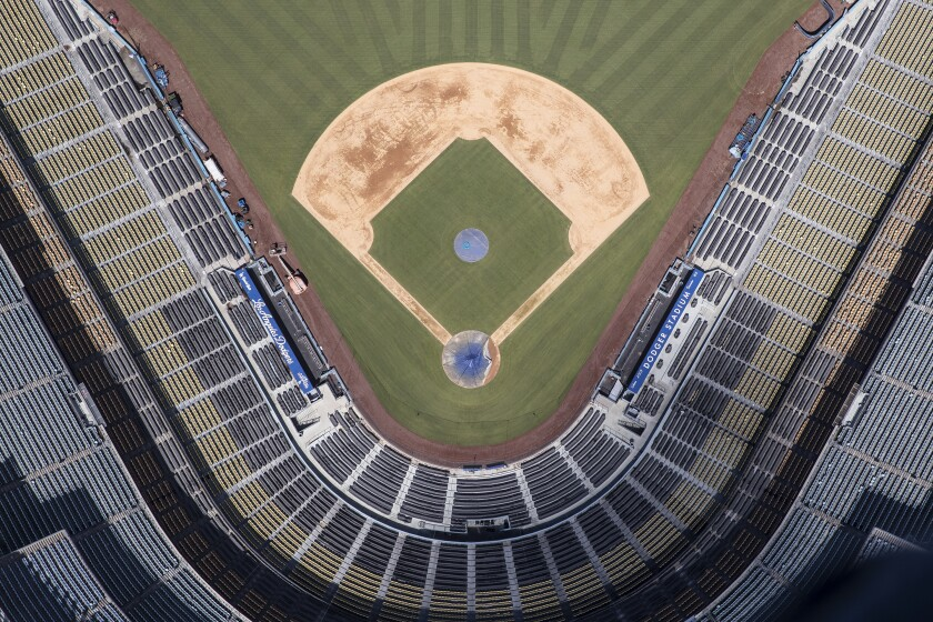 An aerial view of the diamond at Dodger Stadium.