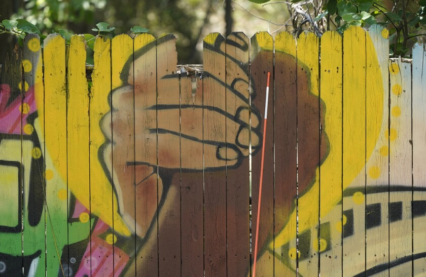 Mural of clasped hands