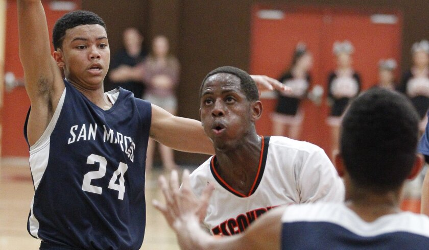 Mikey Howell (24), who missed his senior season at San Marcos with a knee injury, plays defense against Escondido's Marcus Hentley. Howell averaged 7.5 points, 2.5 rebounds, 5.6 assists and 2.7 steals as a junior.