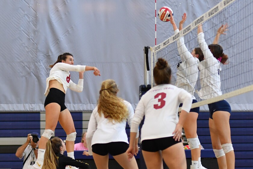 The Torrey Pines girls volleyball team scored a win over San Marcos 25-22, 25-19, 24-26, 25-23 in an Avocado League West match on Oct. 18.