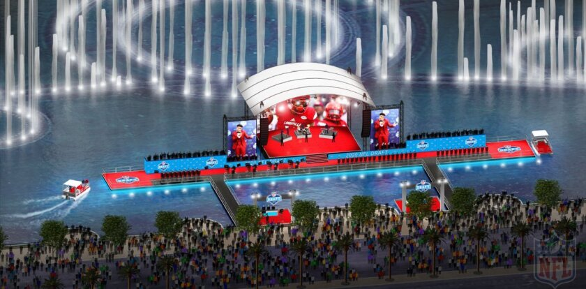 Nfl Draft 2020 >> The 2020 Nfl Draft Stage Might Be On Bellagio Fountains Lake