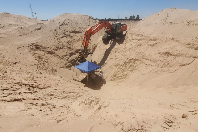 Excavation work continues at the site of an incomplete tunnel that ran from San Luis, Ariz., to a Mexican neighborhood.