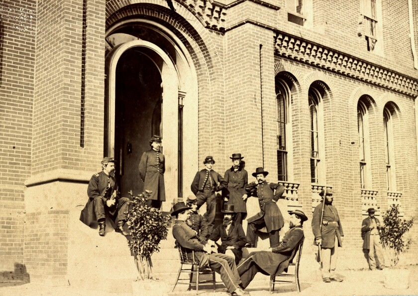 Soldiers in 1863 at the Episcopal Theological Seminary.