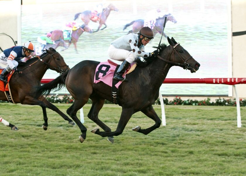 In a photo provided by Benoit Photo, Full Ransom and jockey Santiago Gonzalez win the $75,000 Kathryn Crosby Stakes horse race Saturday, Nov. 7, 2015, at Del Mar Thoroughbred Club in Del Mar, Calif. (Benoit Photo via AP)
