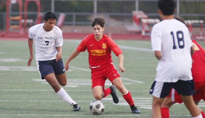 Senior Kevin Kappes scored a pair of goals in Cathedral Catholic's CIF Open Division semi-final Tuesday.
