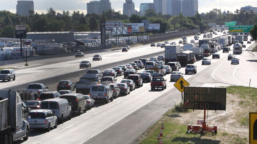 Drivers entering Sacramento on Highway 50 come to a near standstill.