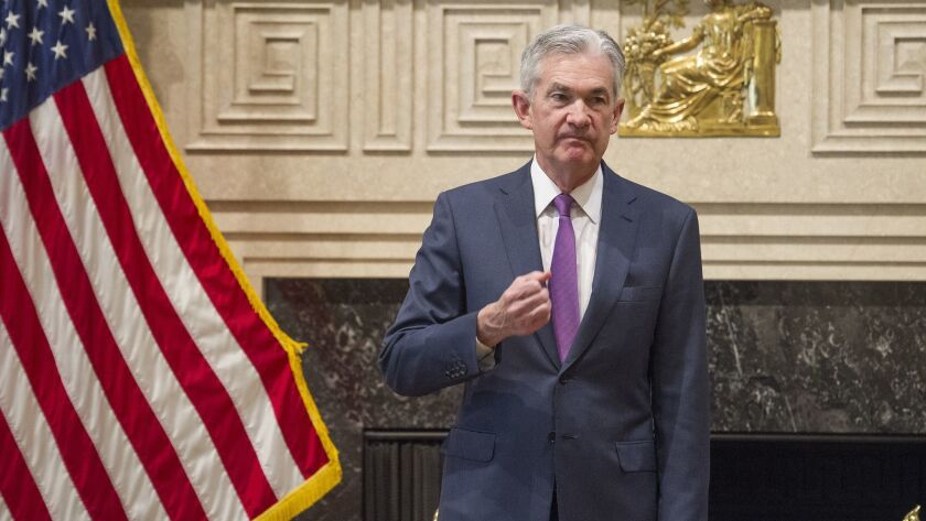 Federal Reserve Chairman Jerome Powell attends the Federal Reserve Board's 15th annual College Fed C
