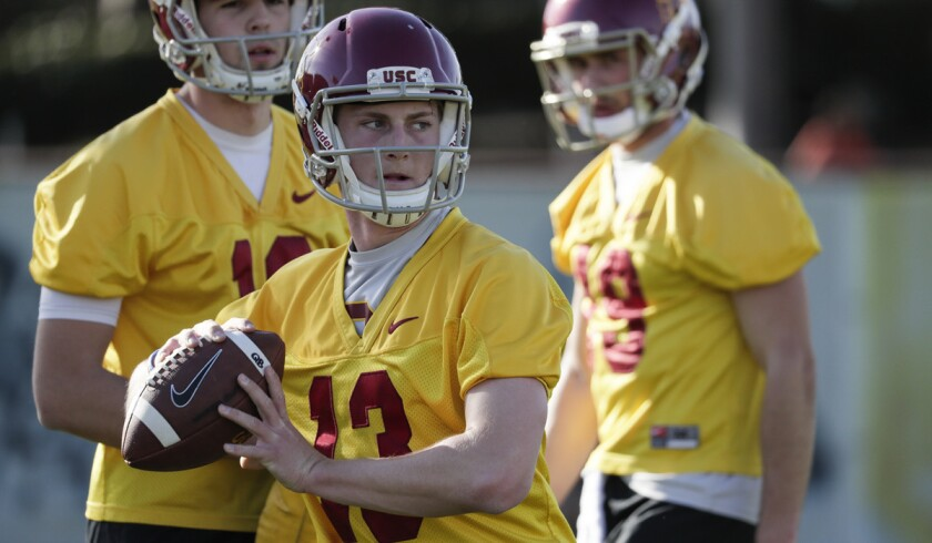 LOS ANGELES, CA, TUESDAY, MARCH 6, 2018 - Quarterback Jack Sears, 13, at Trojans Spring football pr