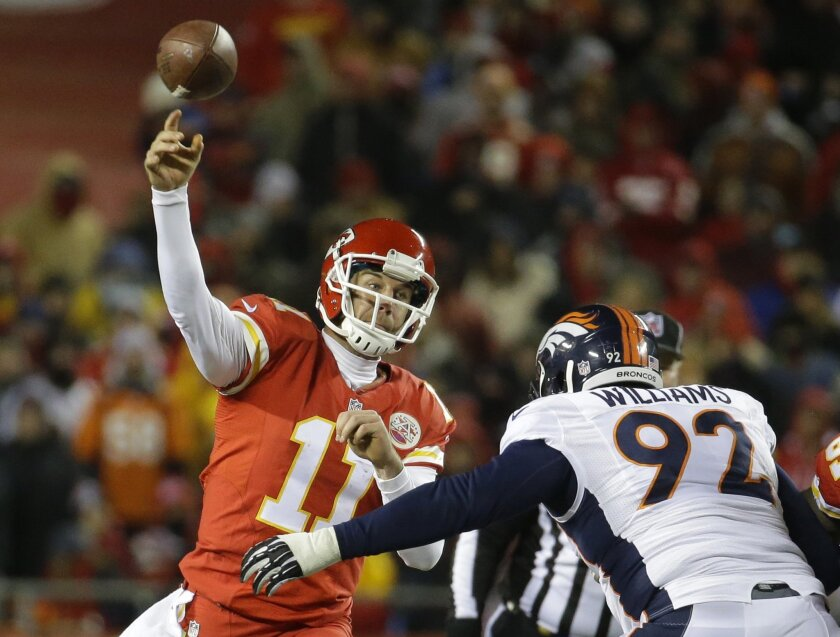 Kansas City Chiefs quarterback Alex Smith (11) throws under pressure fron Denver Broncos defensive tackle Sylvester Williams (92) in the first half of an NFL football game in Kansas City, Mo., Sunday, Nov. 30, 2014. (AP Photo/Charlie Riedel)
