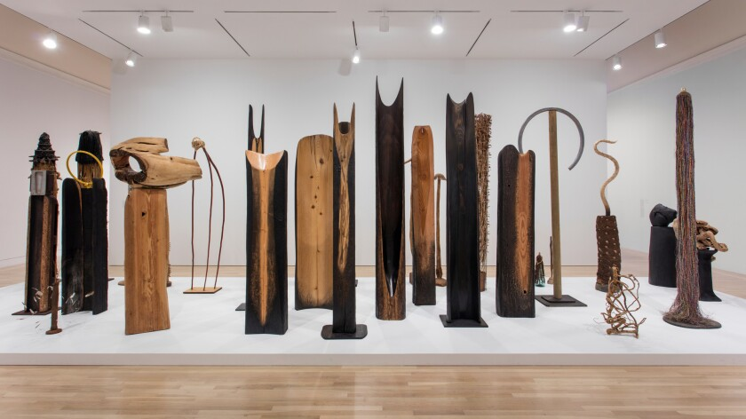 """An installation view of Kenzi Shiokava's works is seen at the Hammer Museum's """"Made in L.A."""" biennial."""