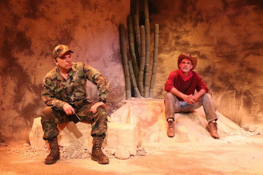 "Chet Grissom, left, and Jonathan Nichols in the Road Theatre Company's ""Nowhere on the Border."""