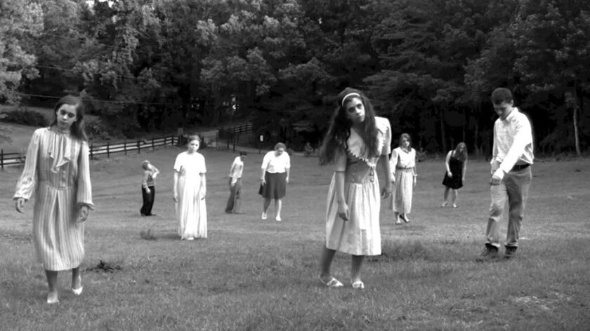 """A zombie outbreak in the 1968 film """"Night of the Living Dead."""""""