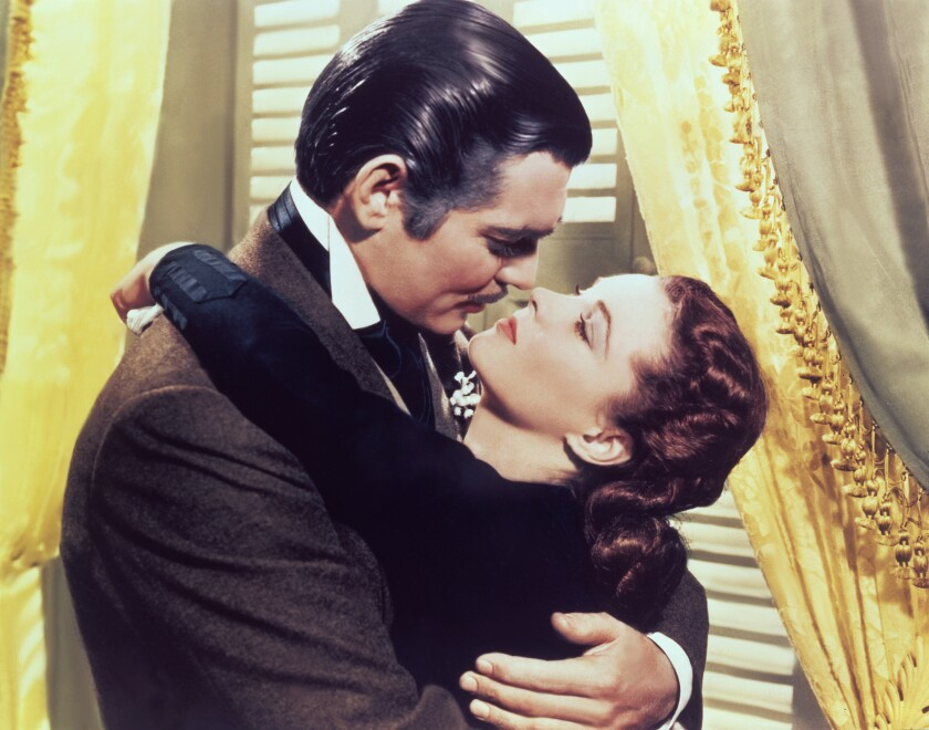 """Clark Gable and Vivien Leigh on the set of """"Gone with the Wind."""""""