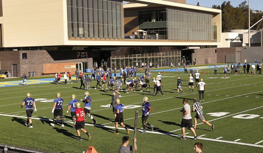 The UCLA football team on Spaulding Field on the campus of UCLA in Westwood.