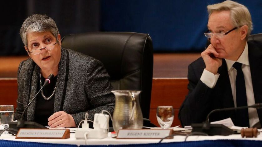 University of California President Janet Napolitano, left, and UC Board of Regents Chairman George Kieffer at a regents meeting.