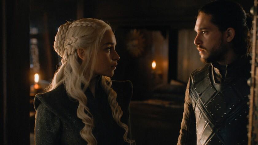 "Emilia Clarke as Daenerys Targaryen and Kit Harington as Jon Snow in the ""Game of Thrones"" episode """