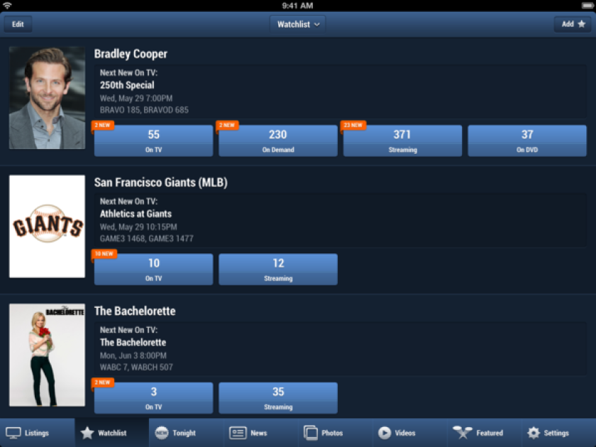 CBS acquired TV Guide Digital from Lionsgate. The mobile application provides expanded features, such as a watch list that alerts viewers when they can watch a favorite TV show or actor.