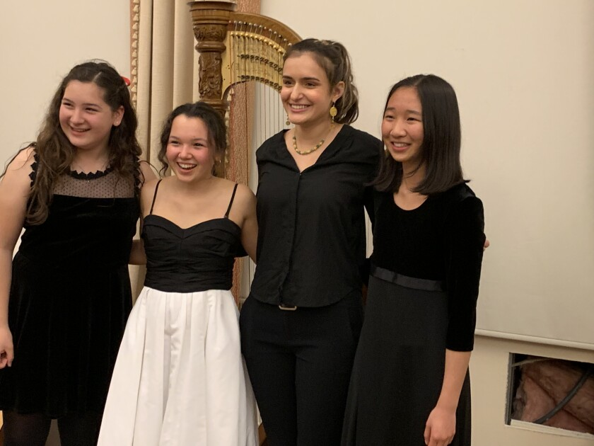 Rotary Music Competition Finalists Isabella McCormic, Gabriella Beltran, Sophia Ross and Helen Zhu. Not pictured: Mathew Chin and Elliott Park.