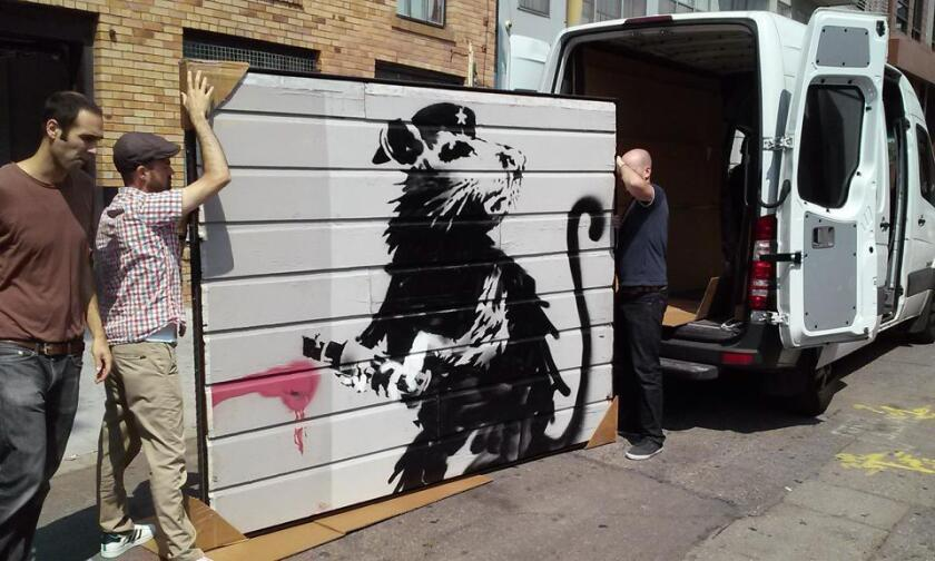 Banksy's Haight Street Rat is seen en route to Los Angeles from San Francisco this month.