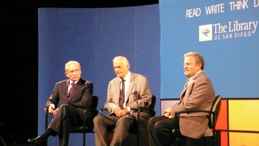 Bob Woodward, Alexander Butterfield and Michael Bernstein at UCSD's Price Auditorium, Dec. 3