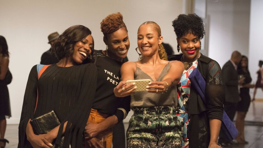 "A scene from an upcoming ""Insecure"" episode, starring Yvonne Orji, from left, Issa Rae, Amanda Seales and Natasha Rothwell."