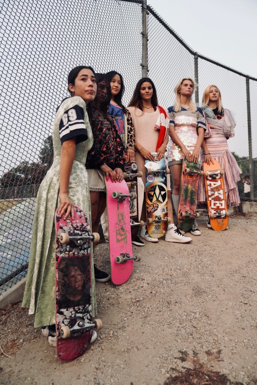 Female skaters model the latest collection from Tara Subkoff's label Imitation of Christ.