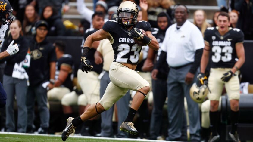Colorado running back Phillip Lindsay heads down the field for a long gain against California on Oct. 28.