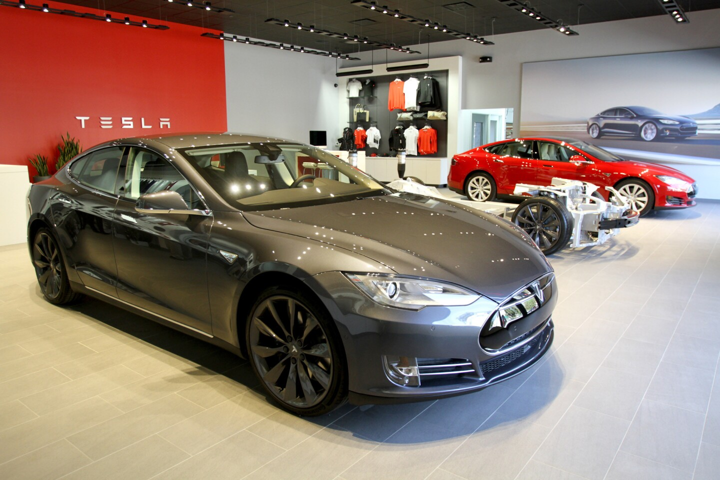 Tesla Motors opened a new show room and service center on San Fernando Rd. in Burbank on Friday, October 23, 2015. The showroom, where a customer can order their own personalized Tesla electric vehicle, will soon have a customer lounge and charging stations.
